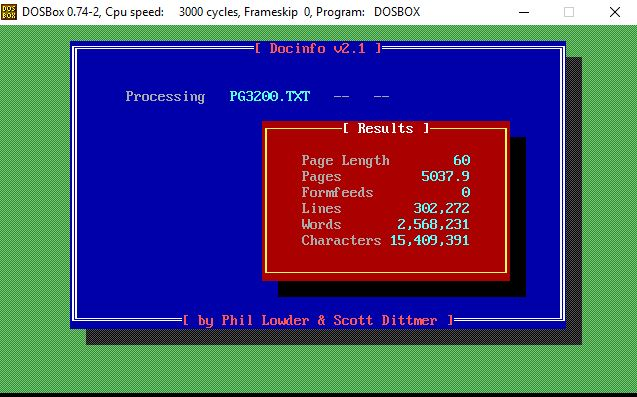 screen shot of program after input